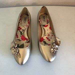 Born Gold Leather Ballet Flats with Flower Details